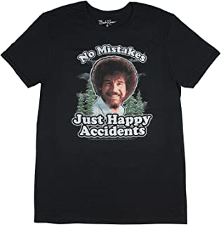 Bob Ross Mens Distressed No Mistakes Just Happy Accidents T-Shirt (Black, Large)