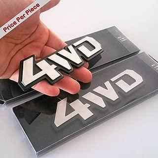 SAISDON- 4WD 4X4 Chrome Hq Aluminium Metal Car 3D Badge Emblem Auto Adhesive Fender Swap Trunk Hood Side Replacement Decal Sticker Truck Jeep Van Sports Diy Name Plate Brushed Alloy [1 Piece][5289]