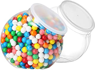 Pack of 2 - Empty Gumball Style Containers With Lids – Plastic Kitchen Countertop Jars - Wide mouth Opening For Easy Refill - Great For Candy, Homemade Cookies, Cake, Snacks - Food Safe (2 Pack 96 Oz)