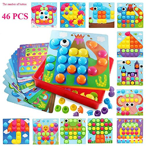 Button Art SHAREMI Puzzles For 3 Year Old Creative Toy Gifts Mushroom Nails Pegboard Educational