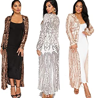 Women's Sequin Ankle Length Irregular Sparkle Cardigan Open Front Coat Dresses