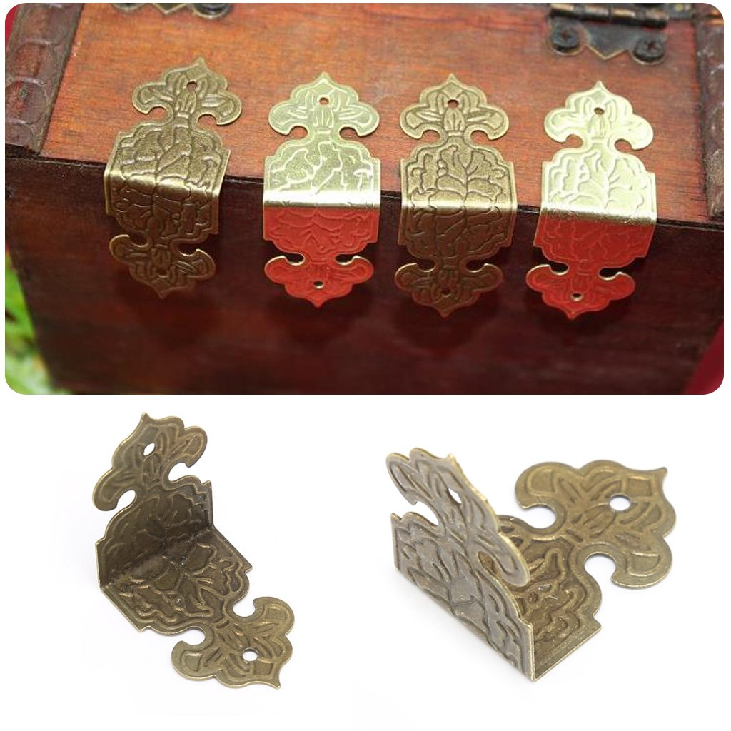 BIlinli 12xAnimales en Bronce Caja de joyería Decorativa Estuche de Madera Pies Pierna Protector de Esquina Pañuelos Chinos Antiguos Libro de Scrapbooking Álbumes de Fotos de Bricolaje Carpetas: Amazon.es: Hogar