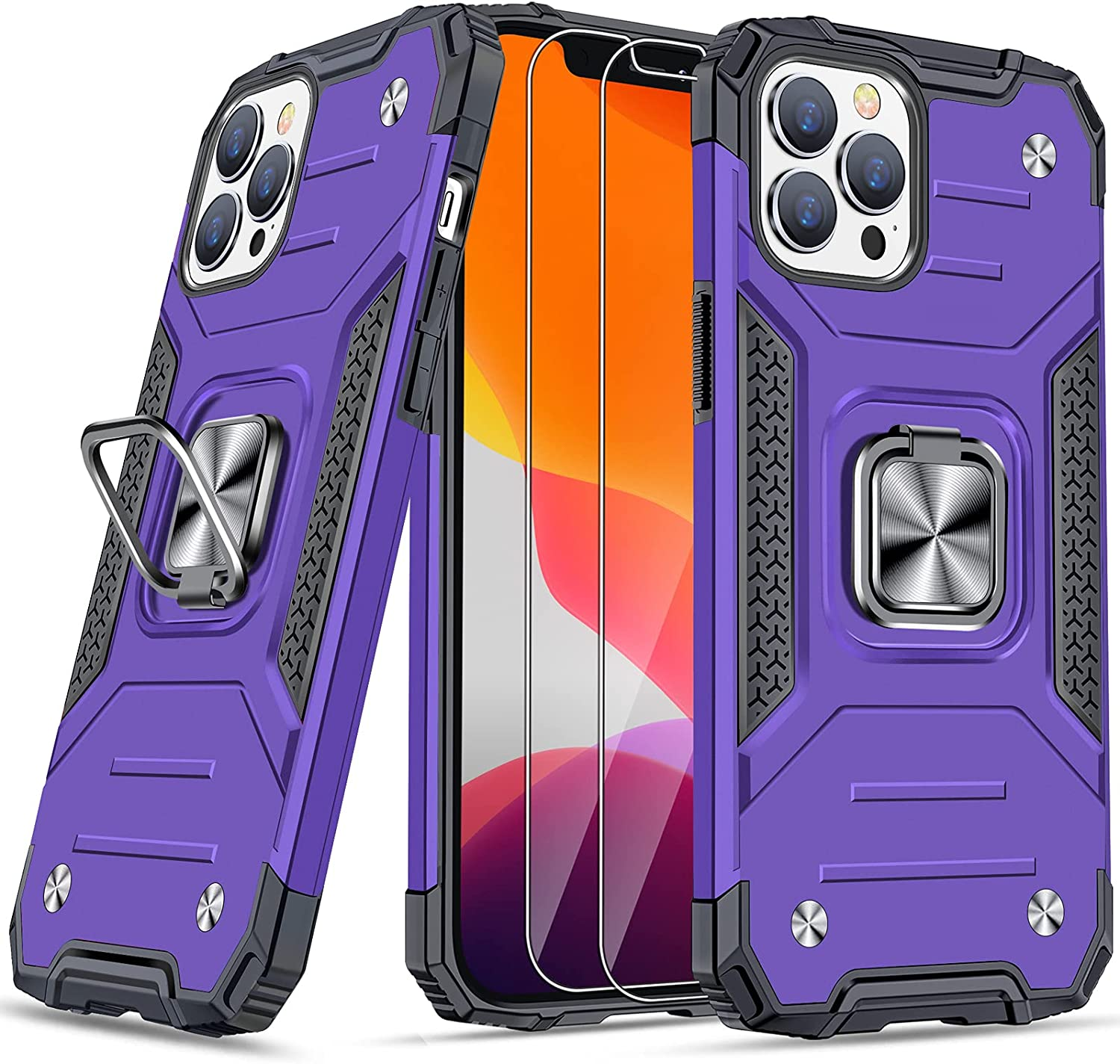 """JAME Case for iPhone 12 Pro Max Case with Screen Protectors 2Pcs, Military-Grade Drop Protection Cover, Protective Phone Cases, with Ring Kickstand, Bumper Case for iPhone 12 Pro Max 6.7"""" Purple"""