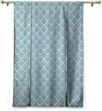 GugeABC Living Room Curtains Damask Balloon Shades Window Treatment Valance Soft Abstract Damask Motif with Middle Eastern In