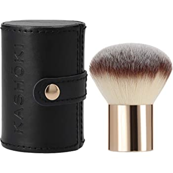 T4B KASHOKI Pennello Trucco Professionale Make Up Kabuki Da Viaggio Per Fondotinta, Cipria E Polveri, Morbido Con Setole di Taklon Custodia Protettiva Inclusa