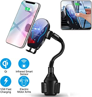 Flow.month Wireless Car Charger-Cup Phone Holder Mount,Automatic Infrared Smart Sensor Clamping Qi 10W 7.5W Fast Universal Adjustable Cell Phone Wireless Charging Air Vent Cradle