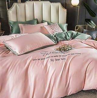 Couette de soie à glace Ensemble de queue de literie soyeuse à quatre pièces Tencel Summer Nude Double couchage Couvre-lit...