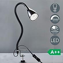 B.K.Licht Flexo escritorio LED negro 5W, Lámpara con pinza GU10, Iluminación regulable con 3 niveles, Lamparas de mesa, Luz de Lectura con cuello flexibleI, 230 V, IP20