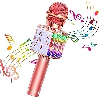 ShinePick Microfono Karaoke, 4 in 1 Bluetooth Wireless LED F