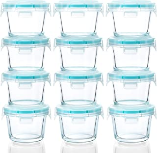 [12-Pack, 5oz]Glass Baby Food Storage Containers, Small Glass Jars with BPA-Free Locking Lids, Baby Food containers, Airtight, Freezer, Microwave, Oven & Dishwasher