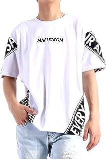(バレッタ) Valletta ツイスト切替 プリントデザイン ビッグシルエット クルーネック 半袖 Tシャツ メンズ