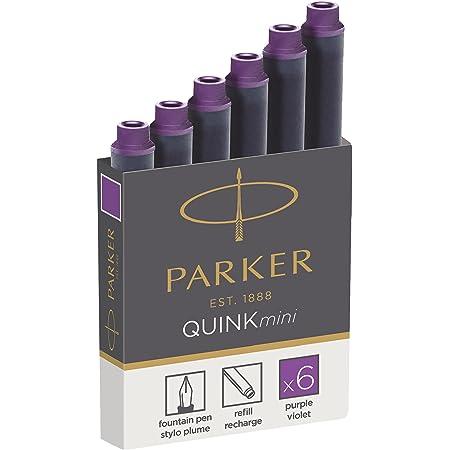 PARKER QUINK Mini Fountain Pen Ink Refill Cartridges, Purple, 6 Count