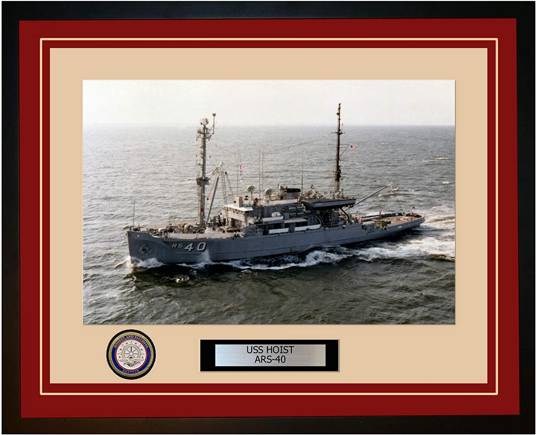 Portland Mall NEW before selling USS Hoist ARS-40 Framed Ship Navy Photo 28ARS40Burgundy