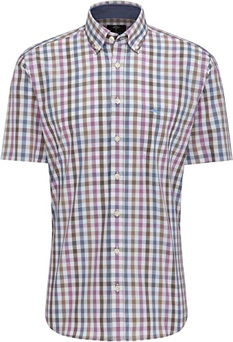 Fynch Hatton 1119-8031 8036 Chemise à Manches Courtes pour Homme Pitahaya-Taupe