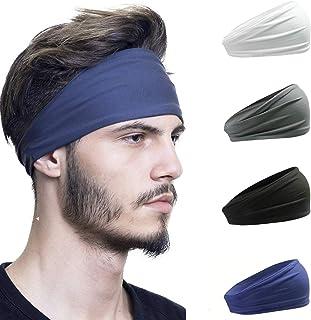 Hair Bands for Men Sweat Sports Headbands Elastic Tennis Golf Running 4pcs / Set