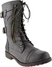 Nature Breeze Harley 12 Womens Military Lace up Studded Combat Boot