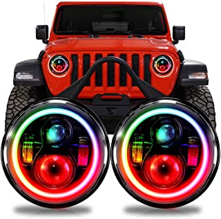 LED RGB Color Changing Projector Headlights Headlamp Compatible with Jeep Wrangler JL Gladiator 2018+ w/Factory Halogen Lamps