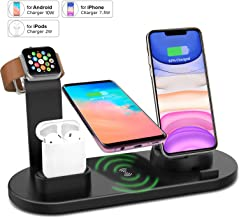 Wireless Charger Station for iPhone Apple Watch Airpods, 4 in 1 Wireless Charging Dock Qi Fast Charging Station for iPhone 11/11 Pro/X/XS/XR/8/8 Plus - iWatch 5/4/3/2/1 - Airpods 1/2 - iPad - S10/S9