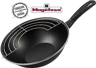 Magefesa Black Wok 28 Cm de Acero Esmaltado, Antia, Vitrificado, Negro