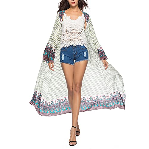 d0d2732f93 iBaste Women s Summer Long Sleeve Beach Blouse Top Kimono Cardigan Floral  Print Maxi Cover up Outerwear