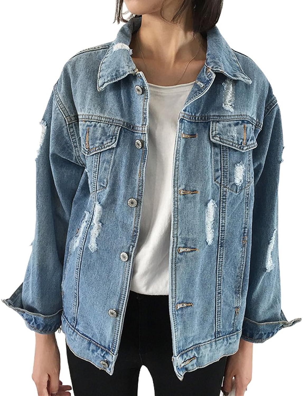 CozzyLife Women's Oversized Denim Jacket Ripped Jean Boyfriend Long Sleeve Coats