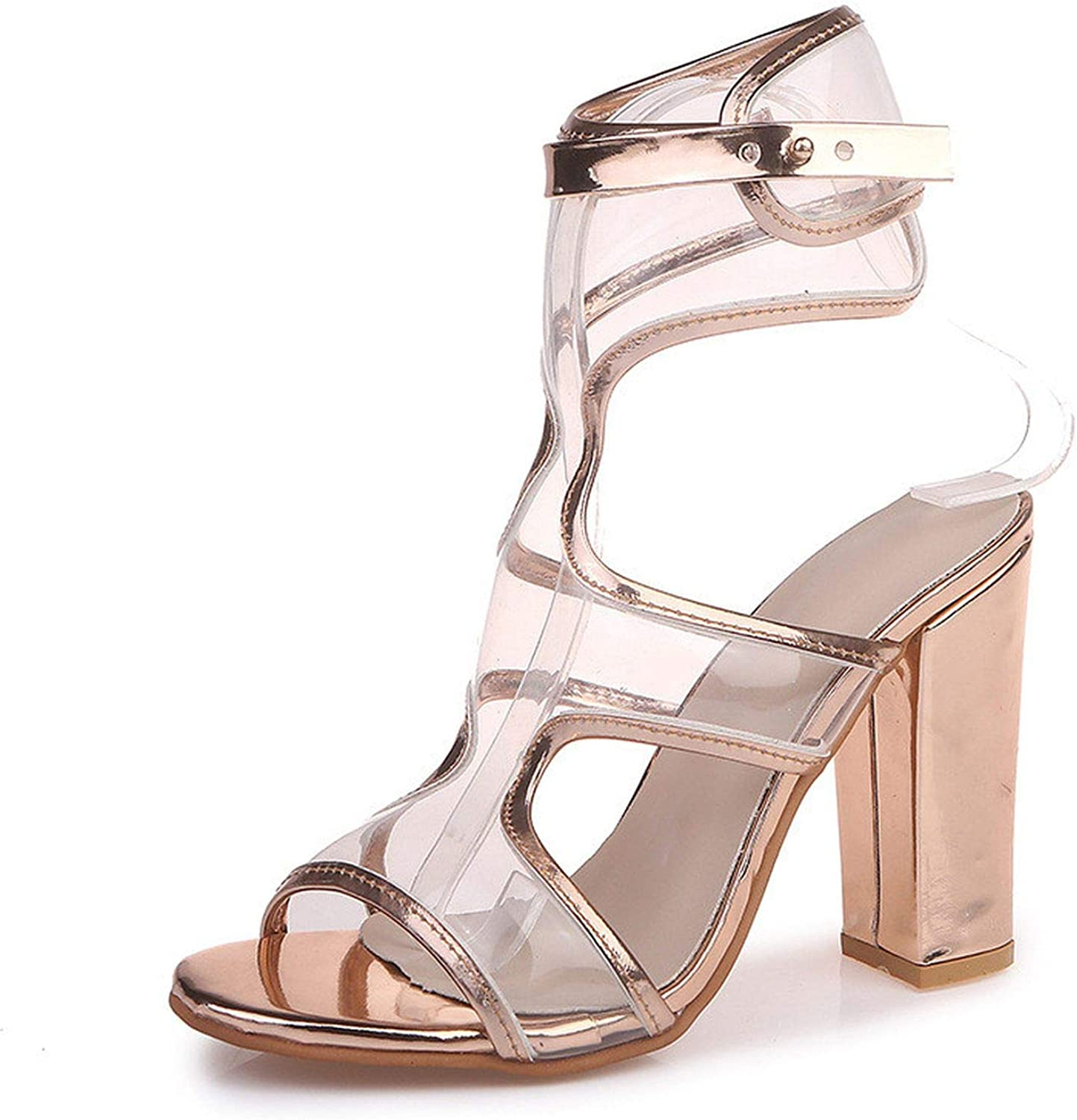 Ruoruo Woman Pumps High Chunry Heels Open Toe Buckle Strap Transparent Party Wedding Sandals Ladies shoes