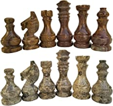 RADICALn Marble Big Board Games Complete Chess Figures - Suitable for 16 - 20 Inches Chess Board - Antique 32 Chess Figures Set - Completely Marble Handmade Non-Wooden Chess Pieces (redandcoral)