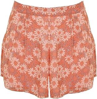 FANTASIA BOUTIQUE Neu Damen Blumen Chiffon Gefüttert Sommer Sexy Party Shorts Damen Hotpants 8-14 - Sonnenblume Pink, 40