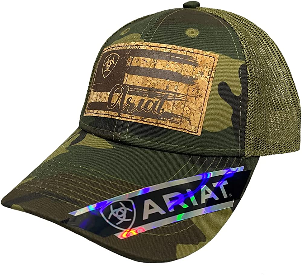 ARIAT Women's Hat Baseball Cap Logo Mesh Flag Cork Patch Logo Camo