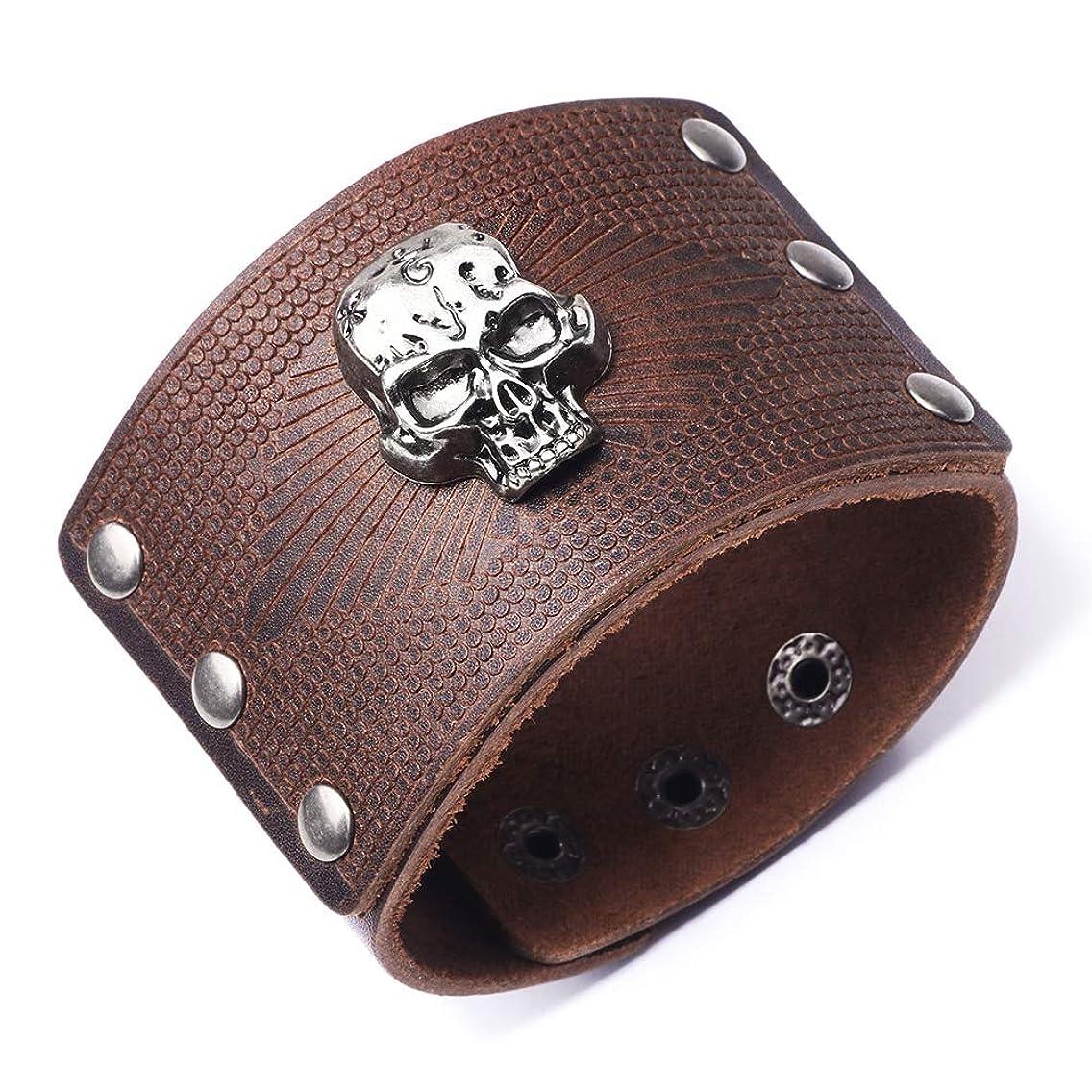 AZORA Punk Leather Bracelet Handmade Cuff Bangle Braided Wristband Adjustable Bracelets for Men,Kids,Boys,Women