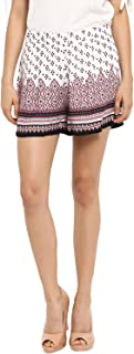 KVL Women's Printed Regular Fit Shorts - (Off White)