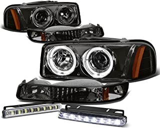 For GMC Sierrea GMT800 Smoke Lens Amber Corner Dual Halo Projector Headlight+Bumper+DRL 8 LED Fog Light
