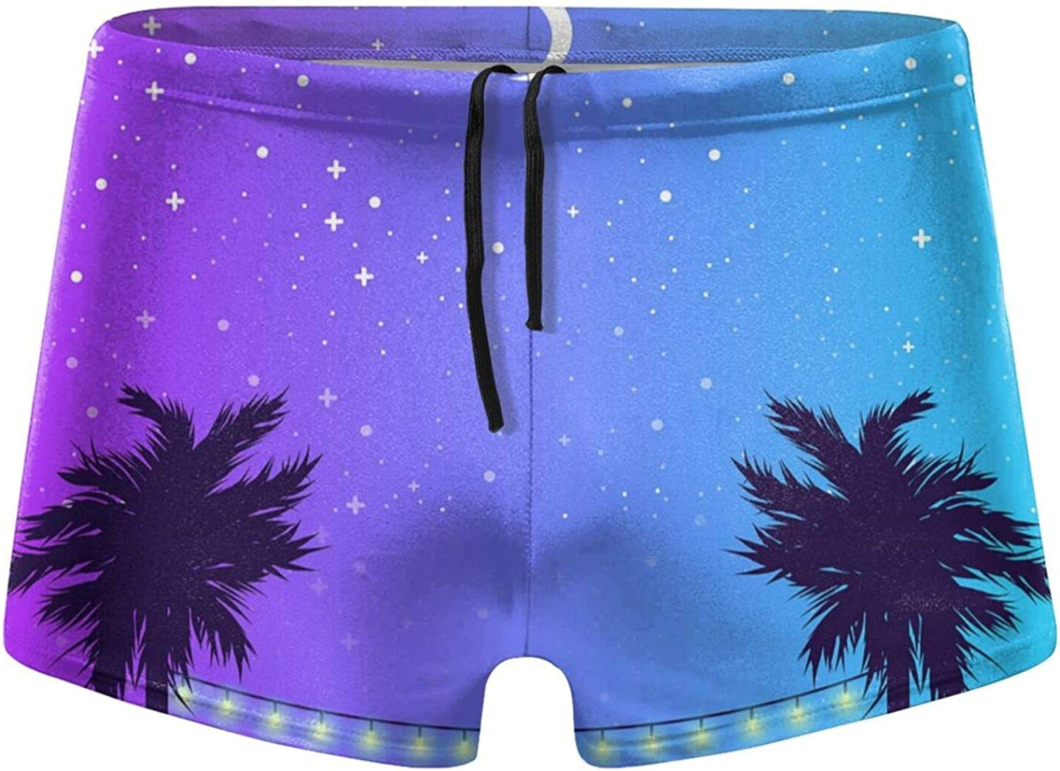 Christmas Starry Night and Palm Men's Swimming Trunks Fitness Swimwear Boxer Pants Board Shorts