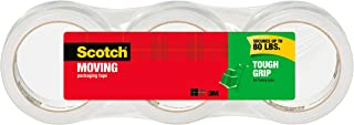 Scotch Tough Grip Moving Packaging Tape, 1.88 in. x 38.2 yd., 3 Roll/sPack
