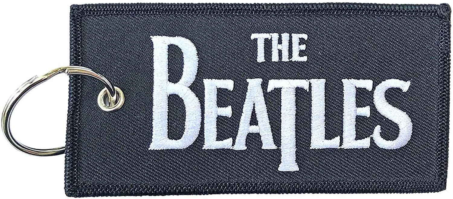 The Beatles Keyring Keychain Classic Drop T Band Logo Patch Official Black