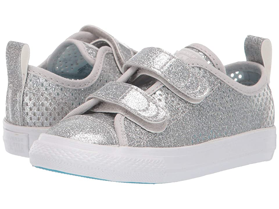 Converse Kids Chuck Taylor(r) All Star(r) 2V Pacific Lights Ox (Infant/Toddler) (Silver/Gnarly Blue/White) Girls Shoes
