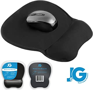 J&G MODERN COMPUTER ACCESSORIES Mouse Pad with Wrist Support, Rest | Ergonomic | Black | Eliminates All Pains, Carpal Tunnel or Any Other Wrist Discomfort! Non-Slip Base & Stitched Edges.