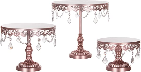 Amalfi Decor Cake Stand Set Of 3 Pack Dessert Cupcake Pastry Candy Display Plate For Wedding Event Birthday Party Round Metal Pedestal Holder With Crystals Rose Gold