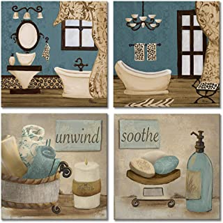 VIIVEI Bathroom Canvas Wall Art Prints Framed Ready to Hang Teal Blue Wall Decor Vintage Paintings Posters Great Gift Home Artwork (12