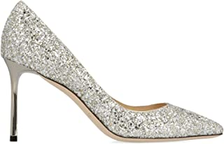 JIMMY CHOO Women's ROMY85CGFCHAMPAGNE Silver Sequins Pumps
