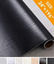 Oxdigi Black Wood Grain Contact Paper 24 x 196 inches Decorative for Shelf Liners Cabinets Shelves Doors Self Adhesive Film Peel & Stick Waterproof Removable Wallpaper