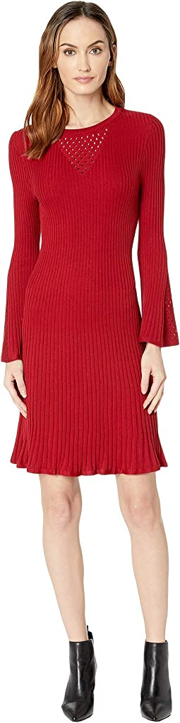 Pointelle Bell Sleeve Sweater Dress