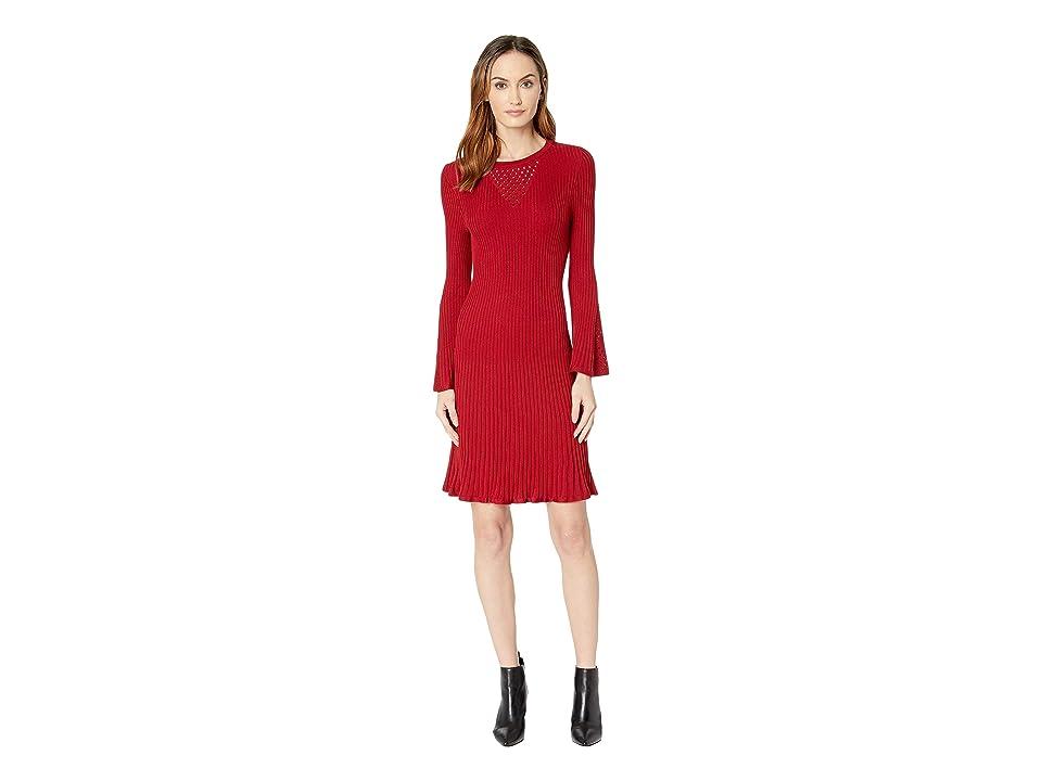 Taylor Pointelle Bell Sleeve Sweater Dress (Cabernet) Women