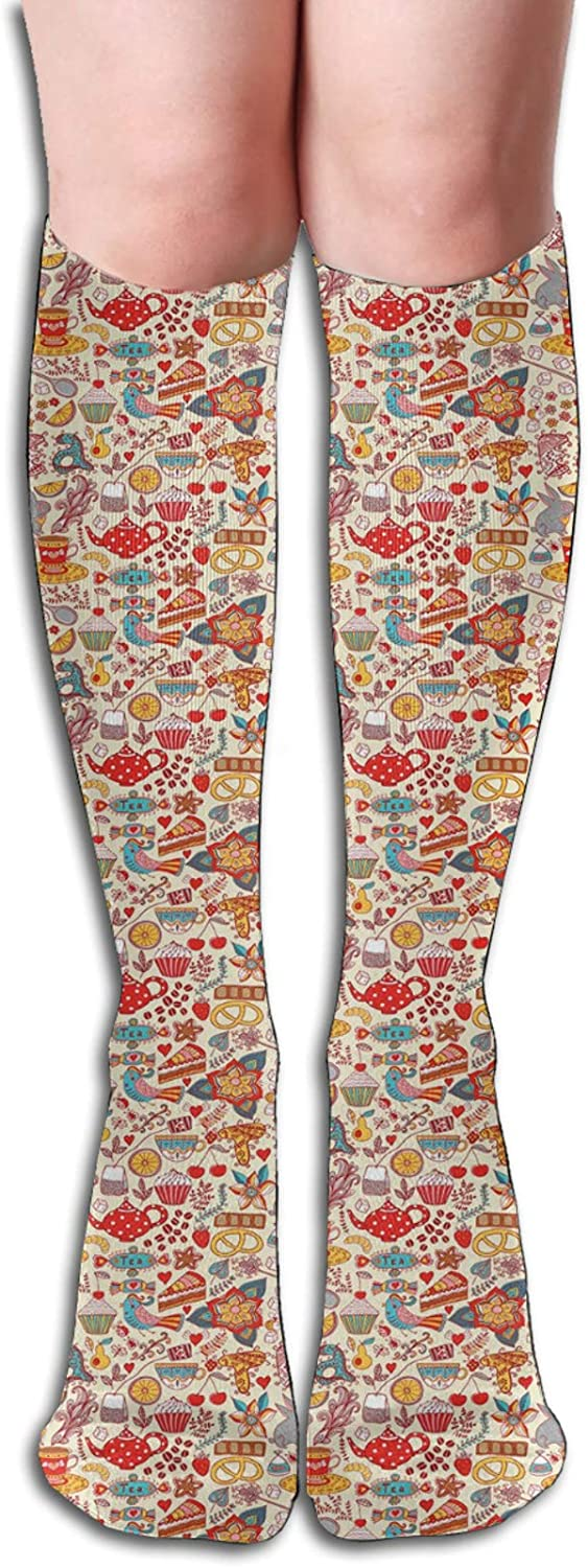 Compression High Socks-Colorful Abstract Motifs Birds Bunnies Pretzel Sugar Cubes And Flowers Pattern Best for Running,Athletic,Hiking,Travel,Flight 8.5 x 50cm