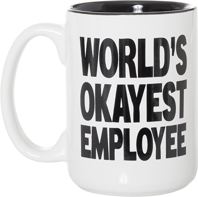 World S Okayest Employee Black Inlay Coworker Funny Gift Large 15 Oz Double Sided Coffee Tea Mug World S Okayest Employee