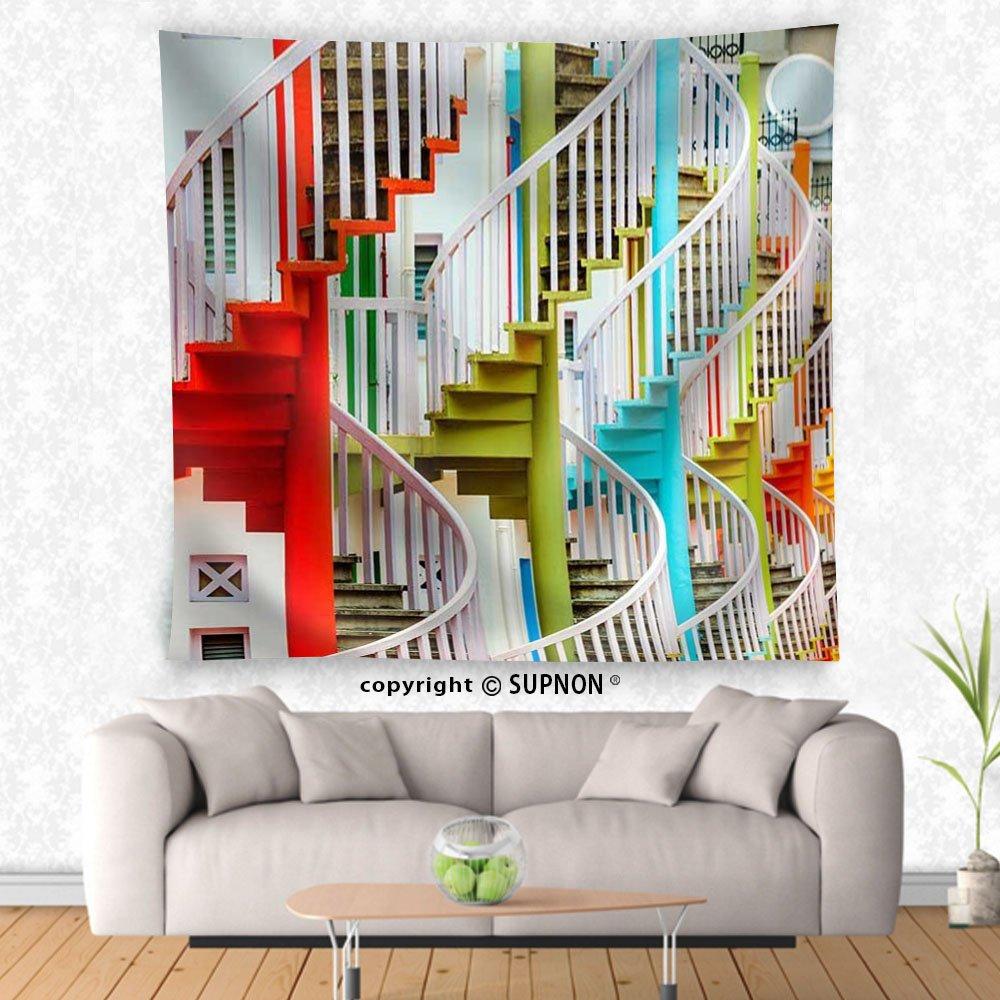 VROSELV Custom Tapiz Bugis Aldea escaleras – Tela Tapiz Pared decoración del hogar: Amazon.es: Hogar