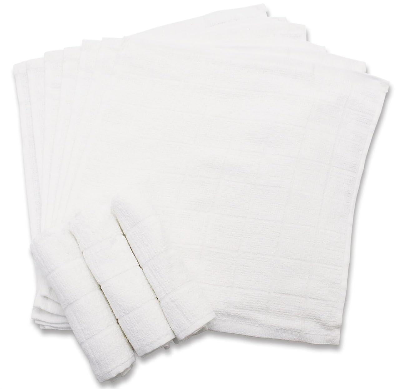 ジョセフバンクスファンスポットおしぼり 格子柄タオル 業務用 10枚入り 綿100% ホワイト 28×28cm