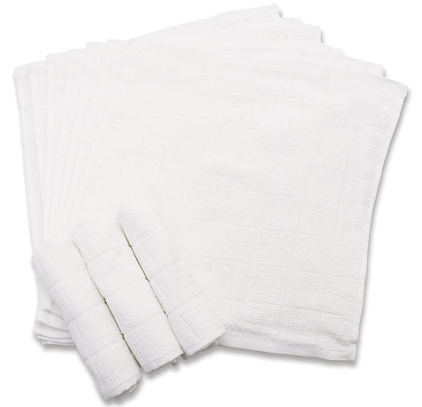 成分モバイル地中海おしぼり 格子柄タオル 業務用 10枚入り 綿100% ホワイト 28×28cm