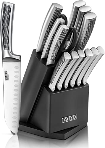 popular Knife popular Set, 14-Piece German Stainless Steel Kitchen Knife Block high quality Sets with Built-in Sharpener, Rotating Block sale