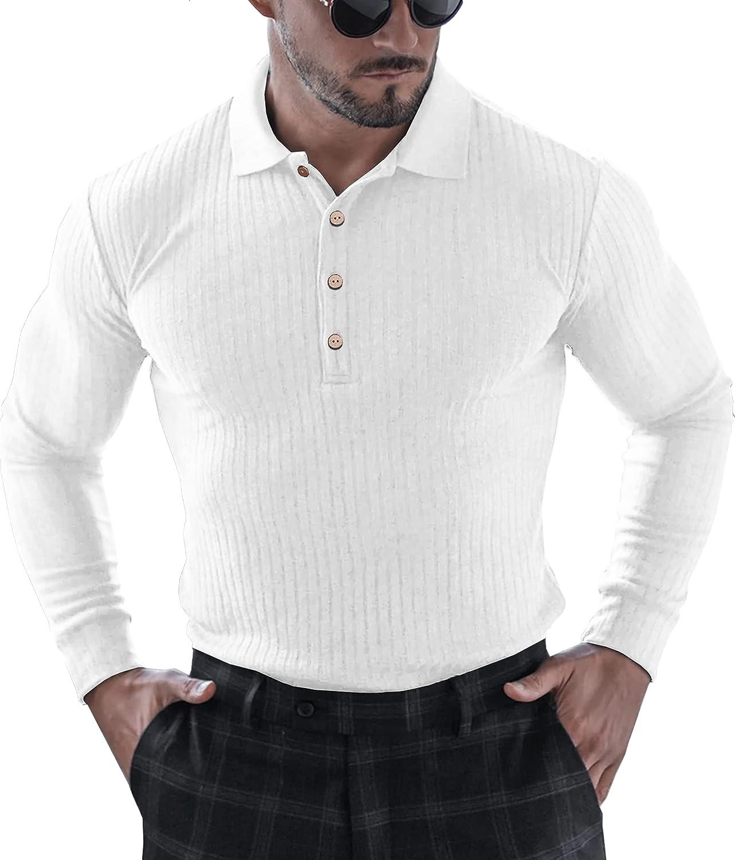 URRU Men's Muscle T Shirts Stretch Long&Short Sleeve Workout Tee Casual Slim Fit Polo Shirt